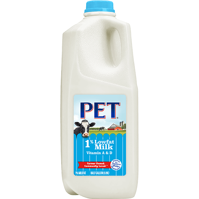 1% Lowfat Milk Plastic Half Gallon